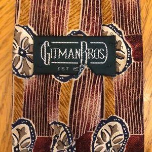 Gitman Bros Silk Tie Red & Brown Geometric Design